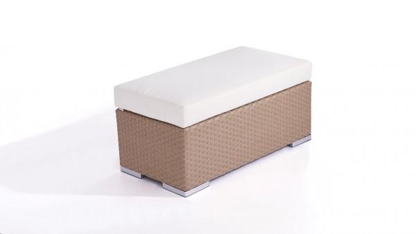 Polyrattan Cube Hocker 45 cm - karamell