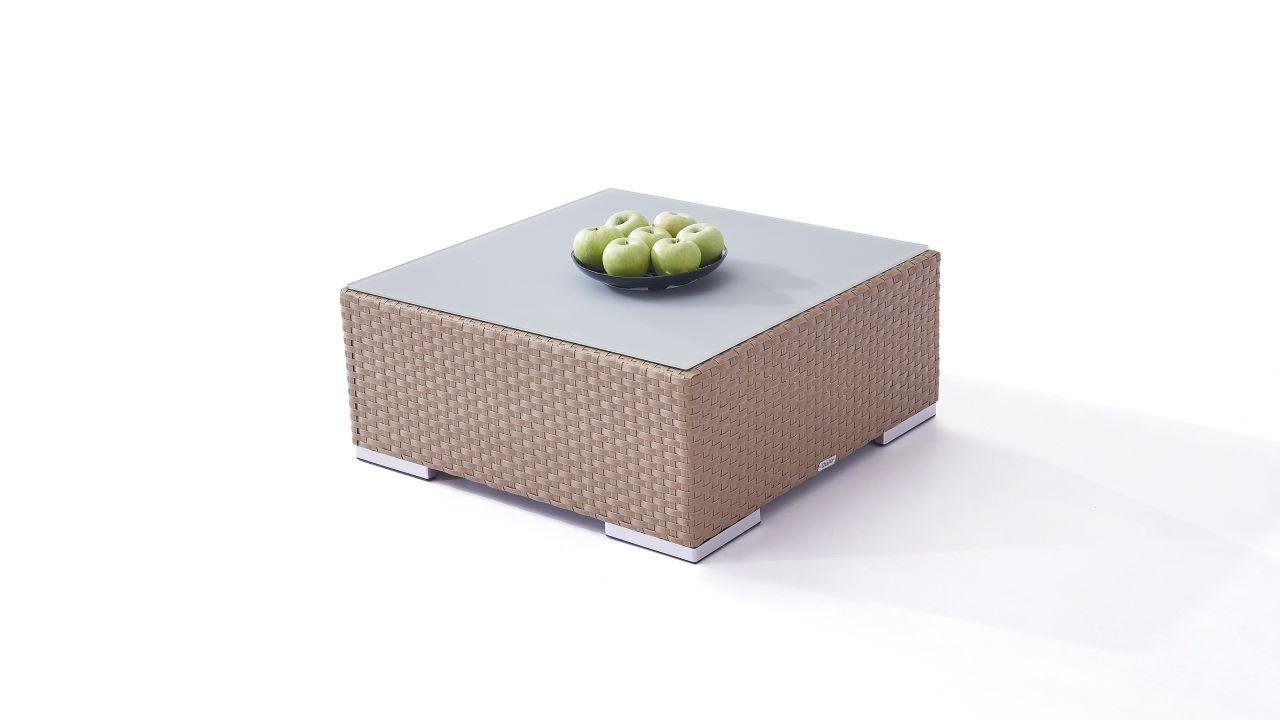 Polyrattan Cube Tisch 75 cm - karamell