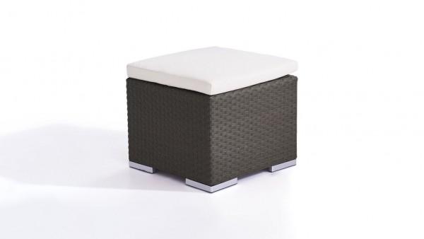 Polyrattan Cube Hocker 50 cm - anthrazit