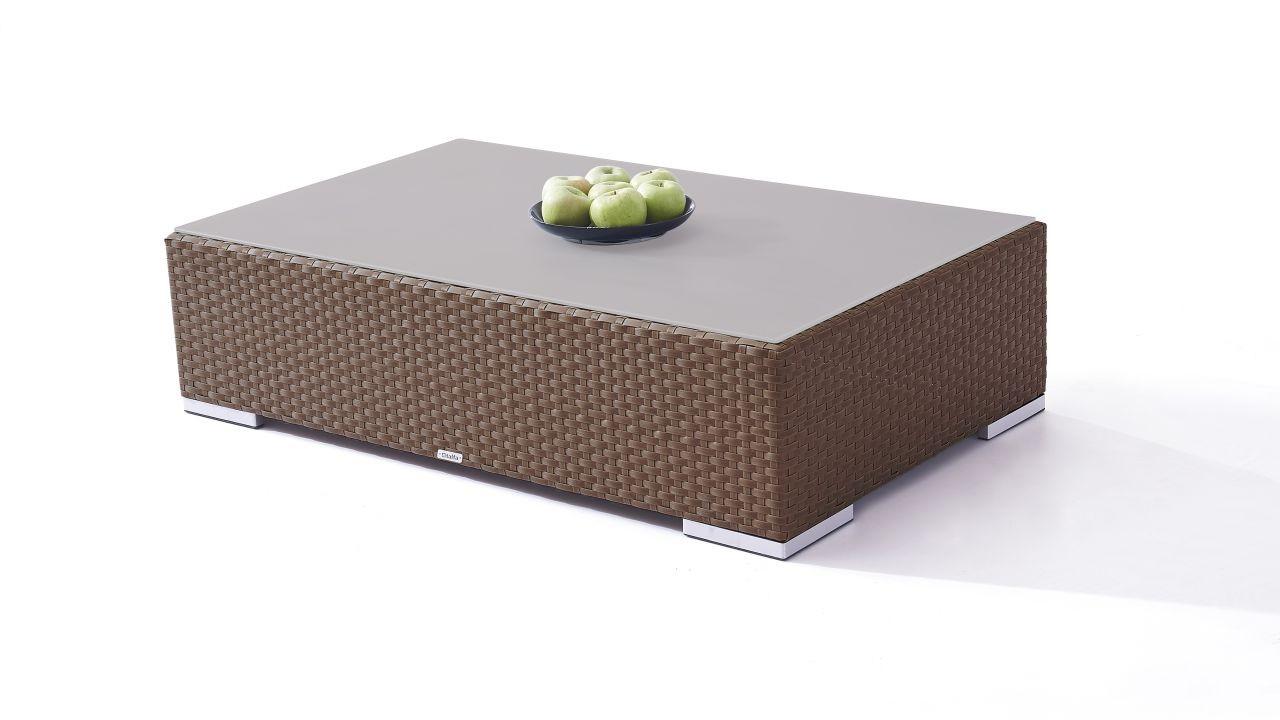 Polyrattan Cube Tisch 125 cm - nussbraun