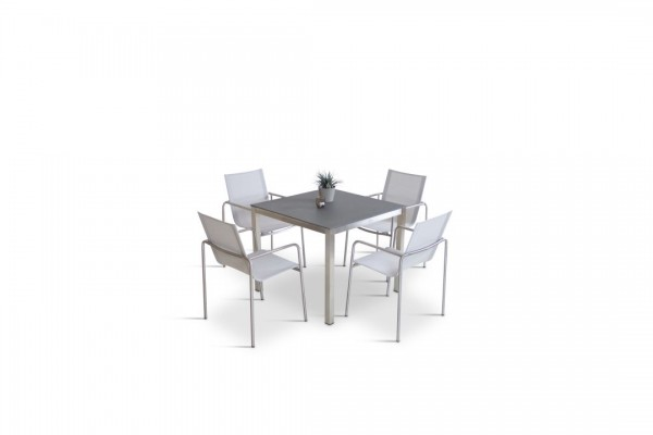 Stainless steel dining group set campinas 4 - silk grey
