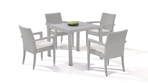 Polyrattan dining group set contracta 4 - grey satin-finish