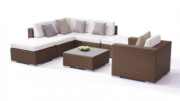 Polyrattan seating group set big sofia - nut brown