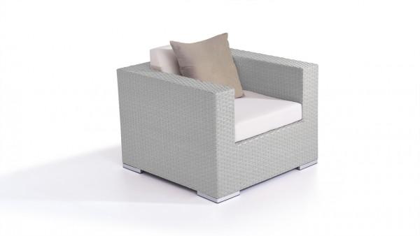 fauteuil en polyrotin Cube - gris satiné