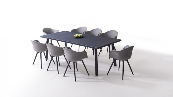 Aluminium dining group set vasca 8 - grey