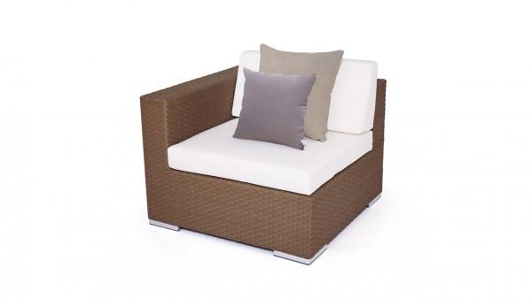 Polyrattan cube sofa end piece 90 cm - nut brown