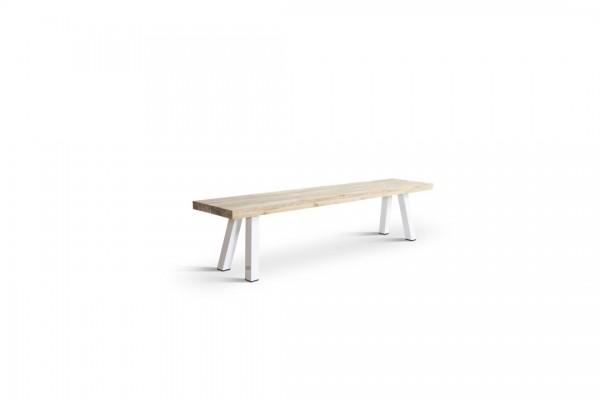Aluminium bench - teak, white