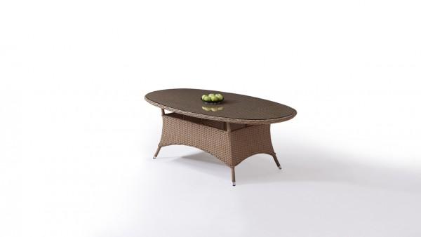 Polyrattan Esstisch Klassik 210 cm, oval - karamell (AV20)