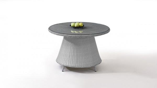 Polyrattan Dining Table Classic 113 cm, round - grey satin-finish