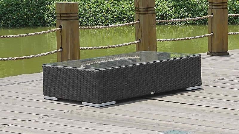 Polyrattan Cube Tisch 125 cm - anthrazit
