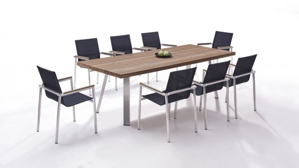 Stainless steel dining group set leon 8 - black
