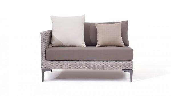 Polyrattan slim sofa end piece 118 cm, left - grey satin-finish