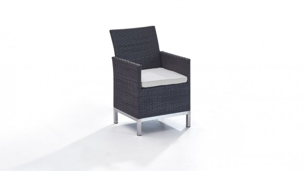 chaise en polyrotin et inox Lusee, 2 pièces - anthracite