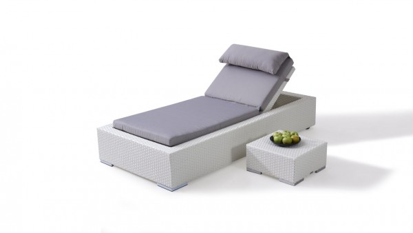Polyrattan sunbed smoop - white satin-finish