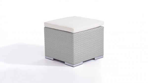 tabouret en polyrotin Cube 50 cm - gris satiné