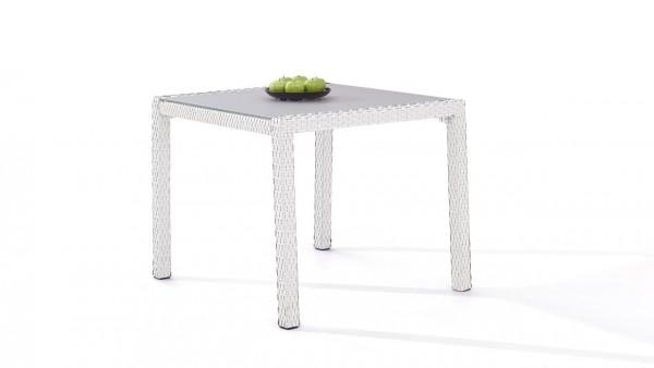 table à manger en polyrotin 90 cm - blanc satiné