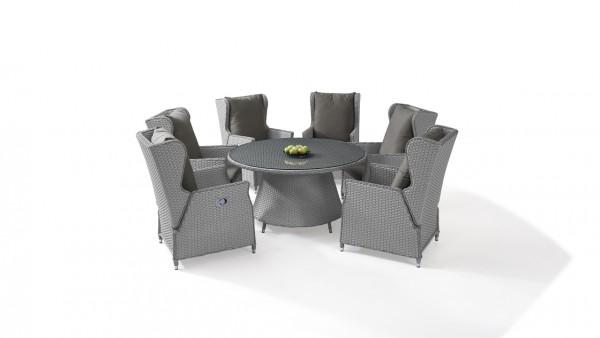 Polyrattan dining group set chesta 6, round - grey satin-finish