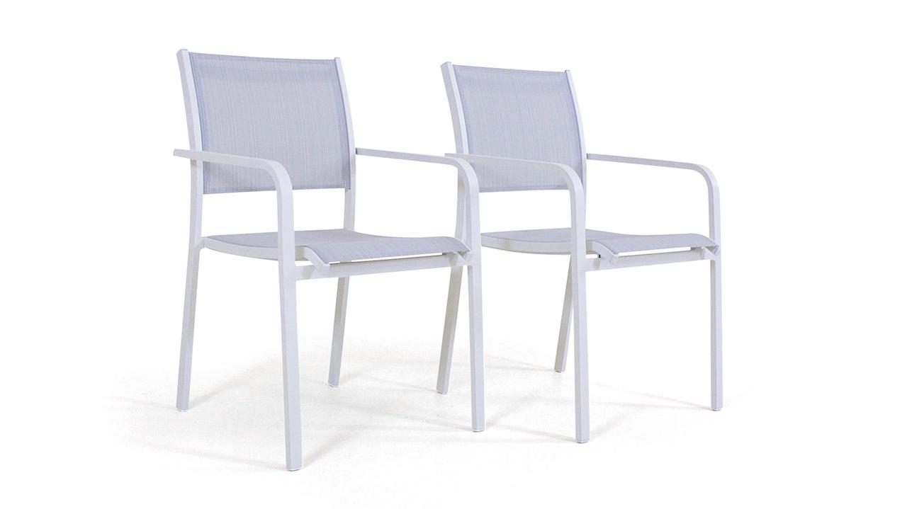Alu Stuhl Tex B, 2 Stück - weiß - Aluminium Gartenmöbel Stuhl Set in Weiß | Garten > Gartenmöbel > Gartenstühle