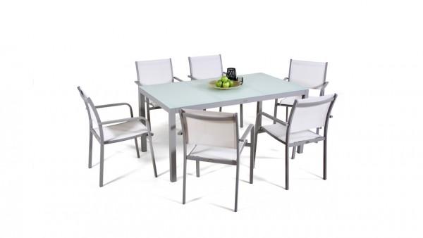 Aluminium dining group set brasilia 6 - silk grey
