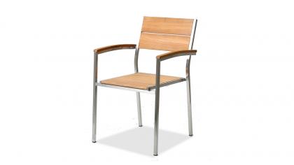 chaise en inox teck A, 2 pièces