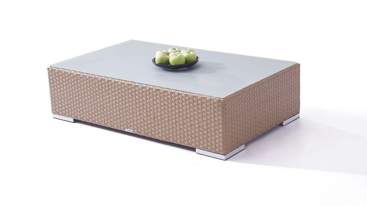 Polyrattan Cube Tisch 125 cm - karamell