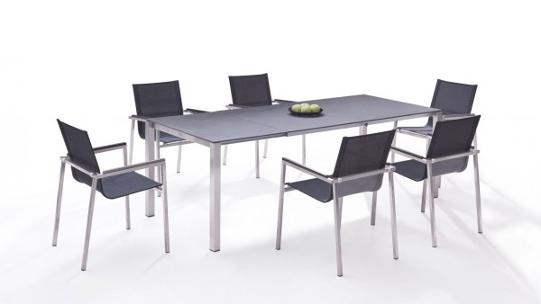 Stainless steel dining group set linares 6 160/ 220 - anthracite