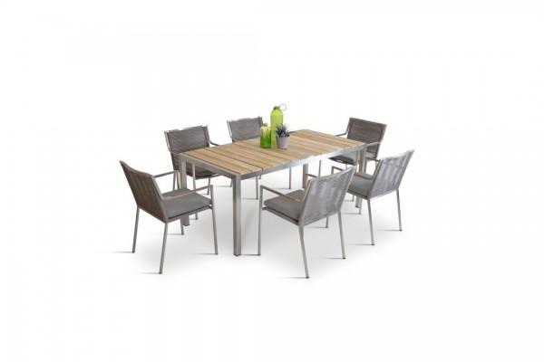 Stainless steel dining group set cordoba 6 - grey-brown