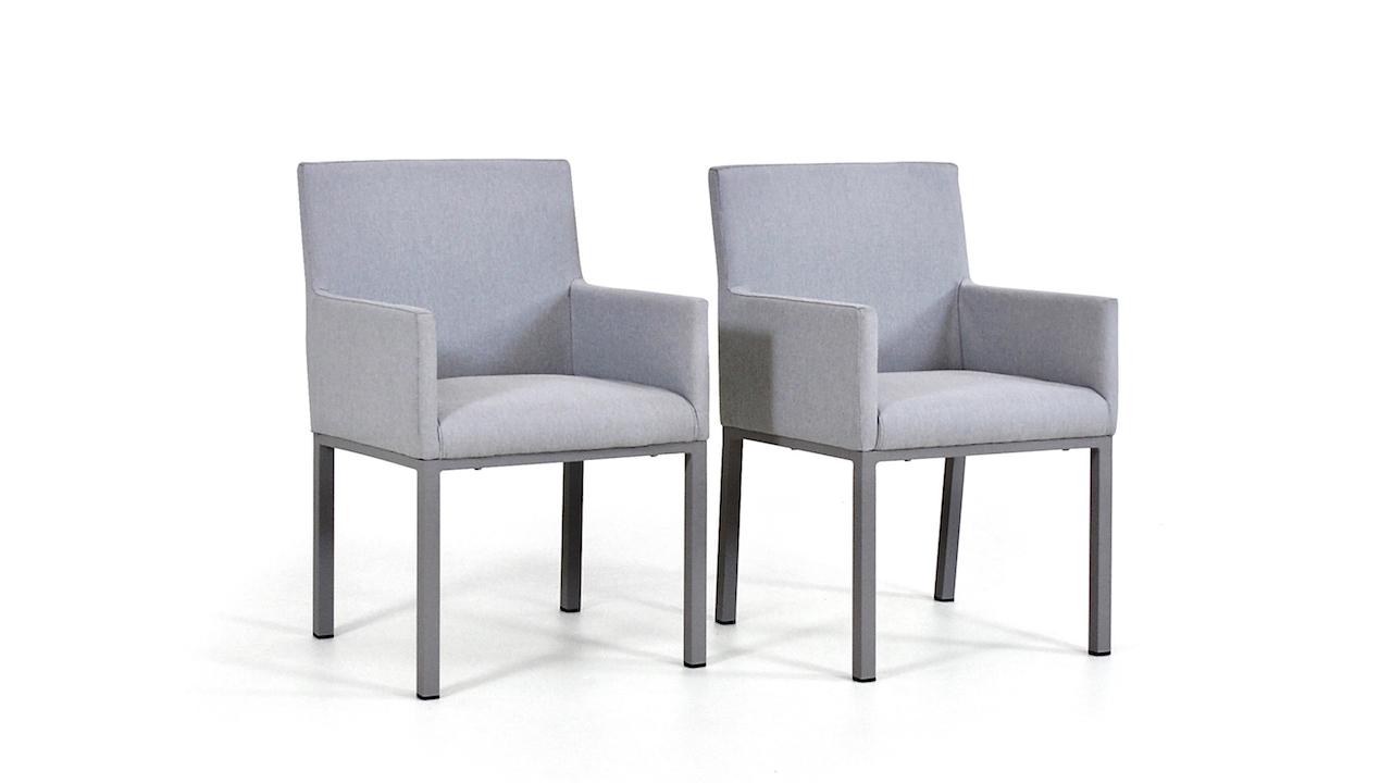 chaise en tissu Pad, 2 pièces - gris soie