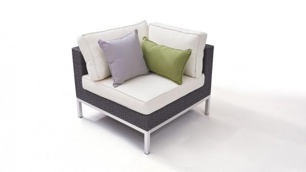 Polyrattan stainless steel silva corner sofa 85 cm - anthracite
