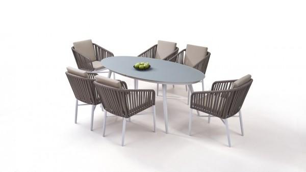 Aluminium dining group set sudbury 6 - white