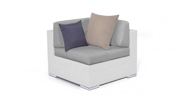 canapé de coin en polyrotin Cube 90 cm - blanc satiné