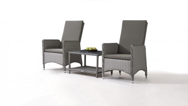 Polyrattan Stuhl Doona, 2 Stück mit Tisch - grau satiniert