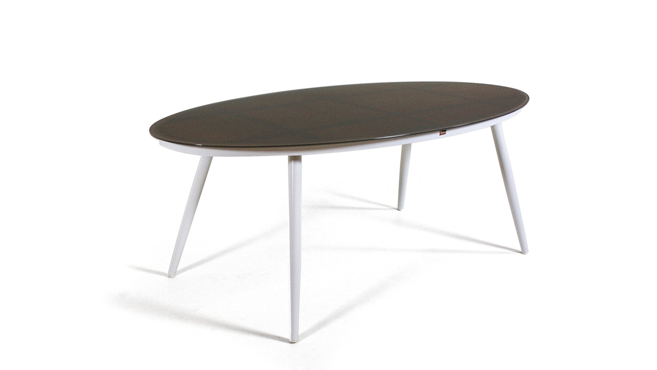 table à manger en alu verre mat 200 cm, oval - blanc