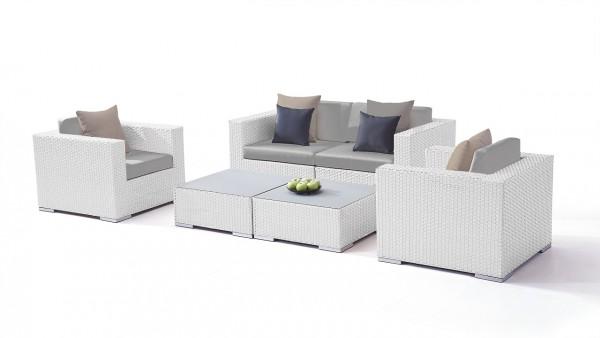 Polyrattan seating group set tapa - white satin-finish