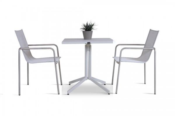 Stainless steel dining group set campinas 2 - silk grey