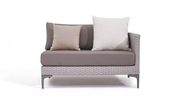 Polyrattan slim sofa end piece 118 cm, right - grey satin-finish