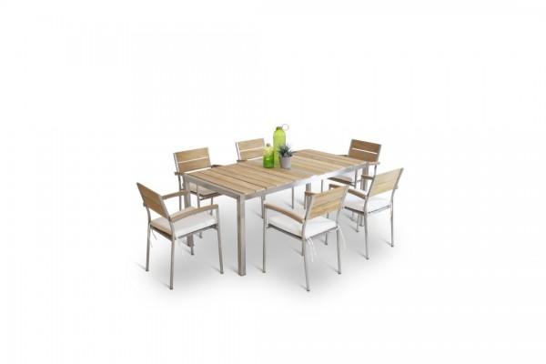 Stainless steel dining group set lagos 6 - teak
