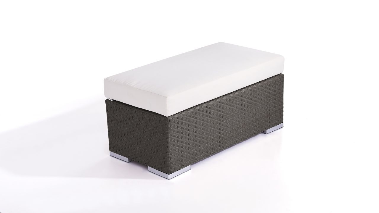 Polyrattan Cube Hocker 45 cm - anthrazit
