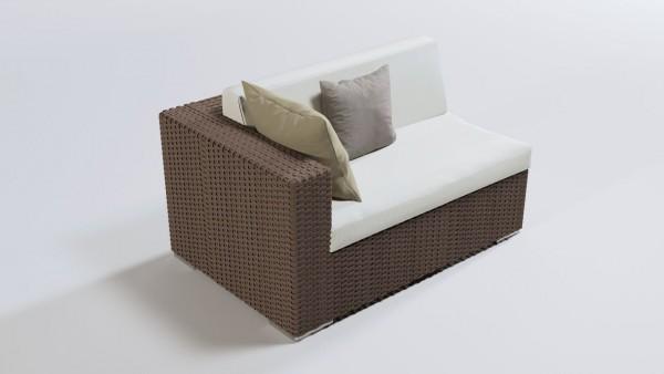 Polyrattan cube sofa end piece 140 cm, left - nut brown