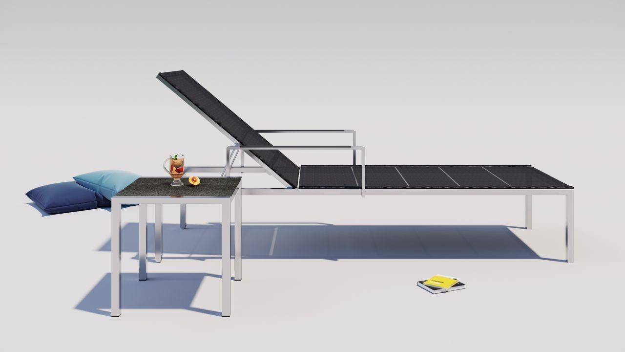 Edelstahl-Gartenliege-Set-Malaga-2x-schwarz-Living-Zone-Gartenmoebel ...