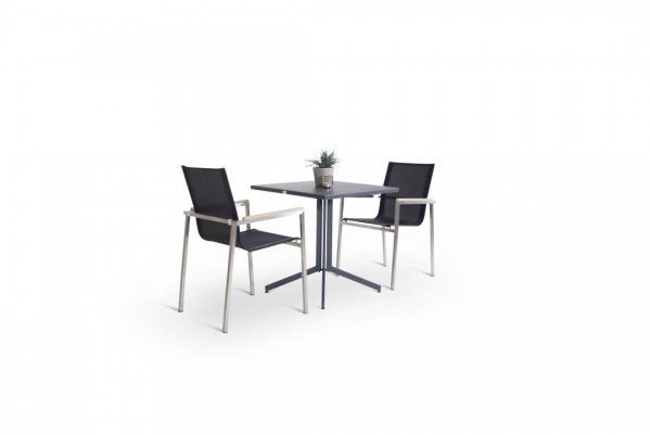 Stainless steel dining group set linares 2 - black