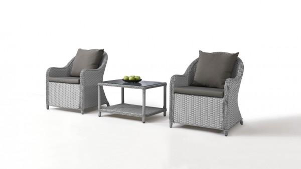 Polyrattan Stuhl Kasu, 2 Stück mit Tisch - grau satiniert
