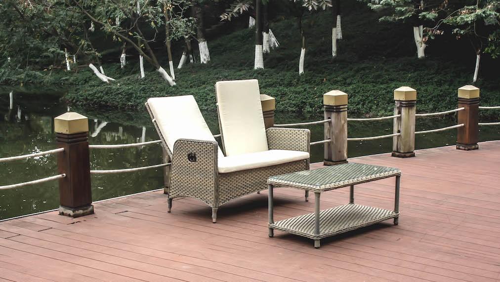 Polyrattan Sitzgruppe Doona Sofa + Tisch/Glas - grau