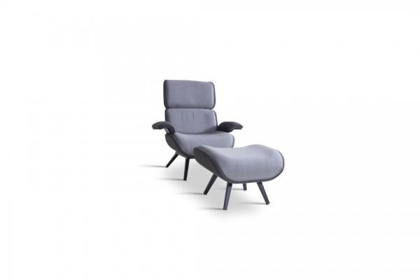 fauteuil en alu et tabouret blanc ivoire - graphite