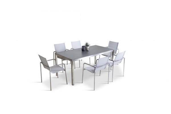 Stainless steel dining group set campinas 6 - silk grey
