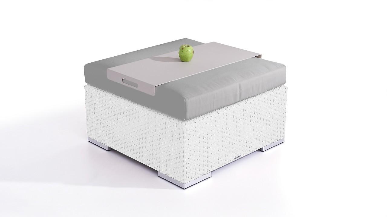 Polyrattan Cube Hocker 75 cm - weiß satiniert