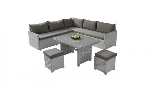 Polyrattan dining group set koola - grey satin-finish