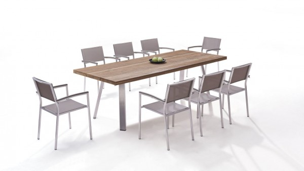 Stainless steel dining group set alicante 8 - beige