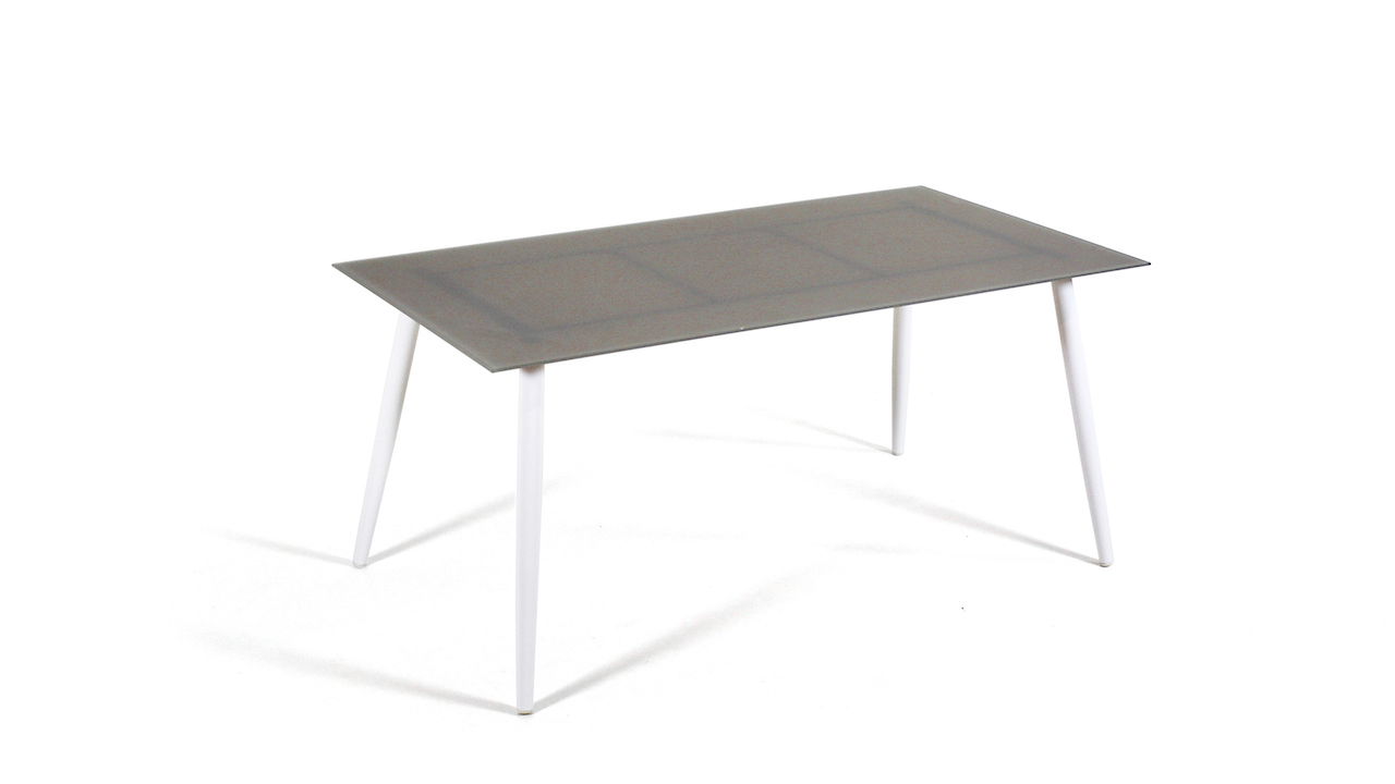 table à manger en alu verre mat 160 cm, conique - blanc