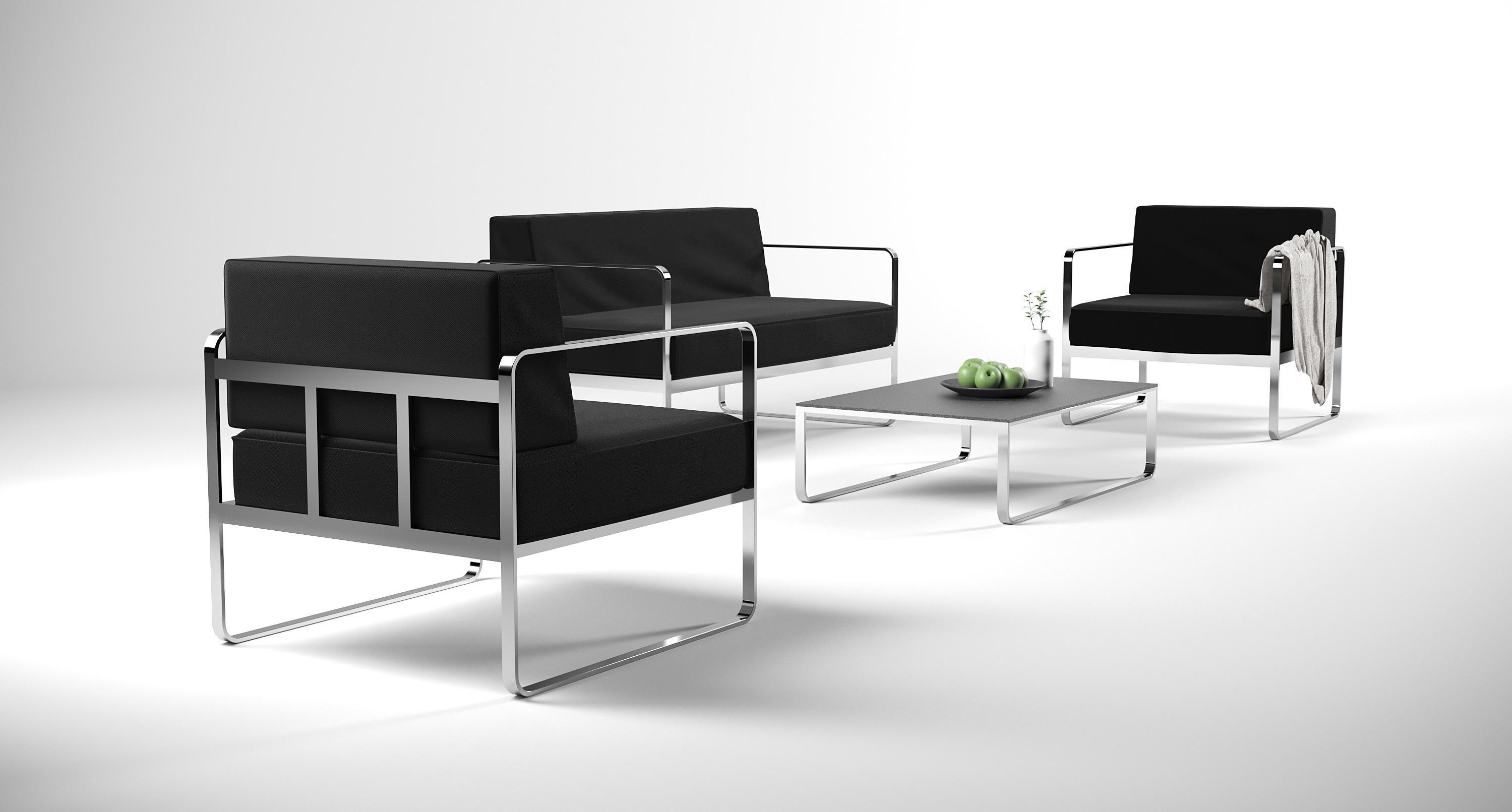 edelstahl sofa set valencia schwarz gartenmoebel fuer lounge und balkon living zone. Black Bedroom Furniture Sets. Home Design Ideas